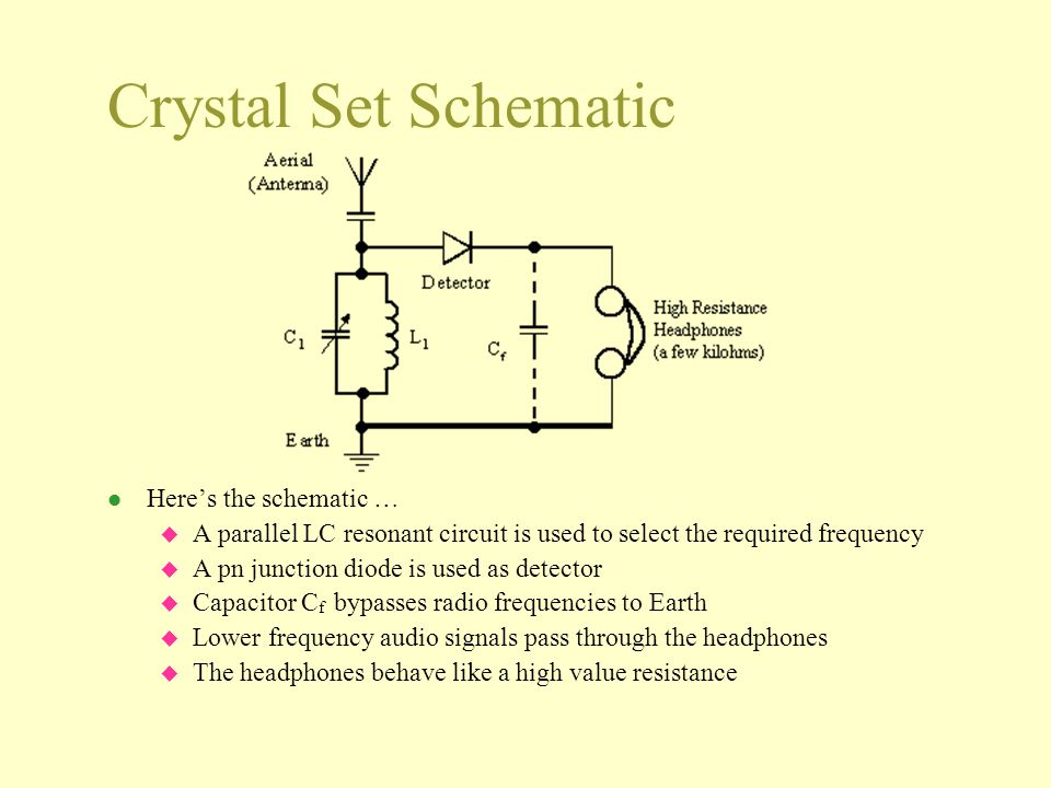 Crystal Set Schematic Here's the schematic …