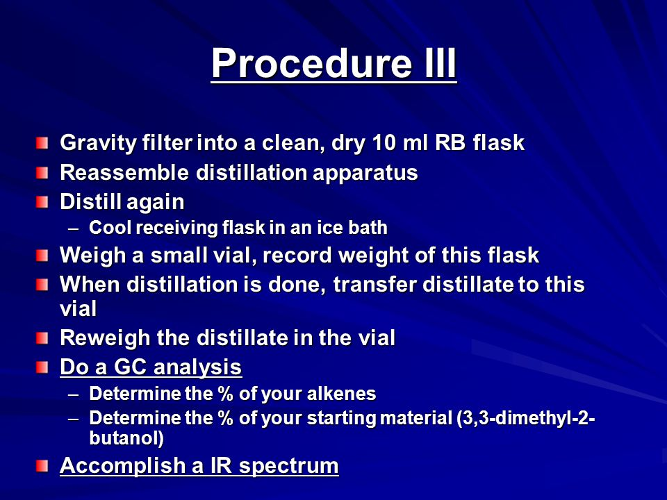 Procedure III Gravity filter into a clean, dry 10 ml RB flask