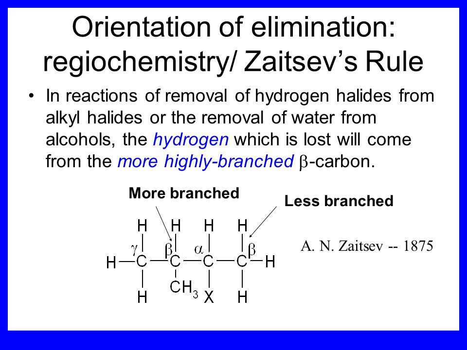 Orientation of elimination: regiochemistry/ Zaitsev's Rule