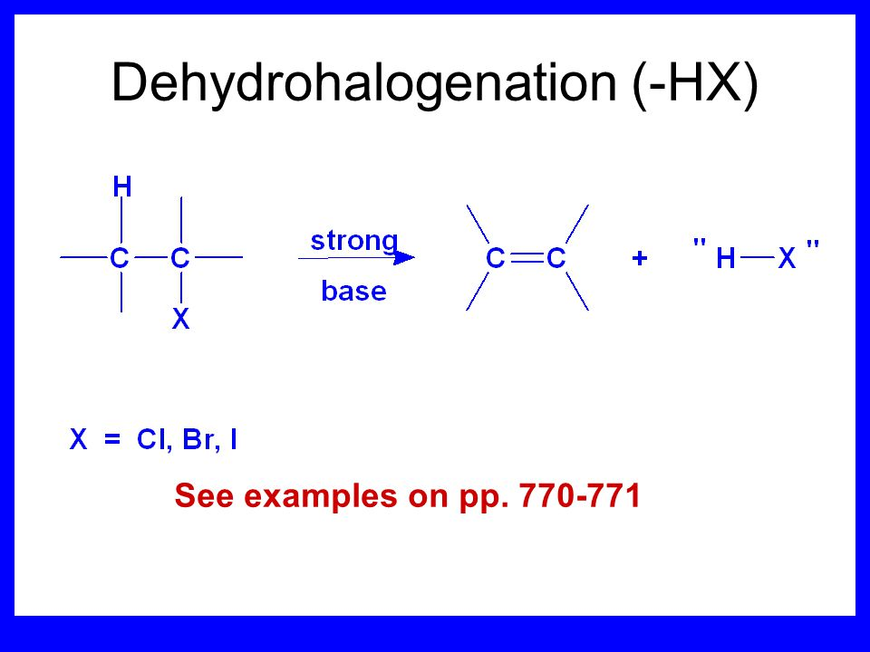 Dehydrohalogenation (-HX)
