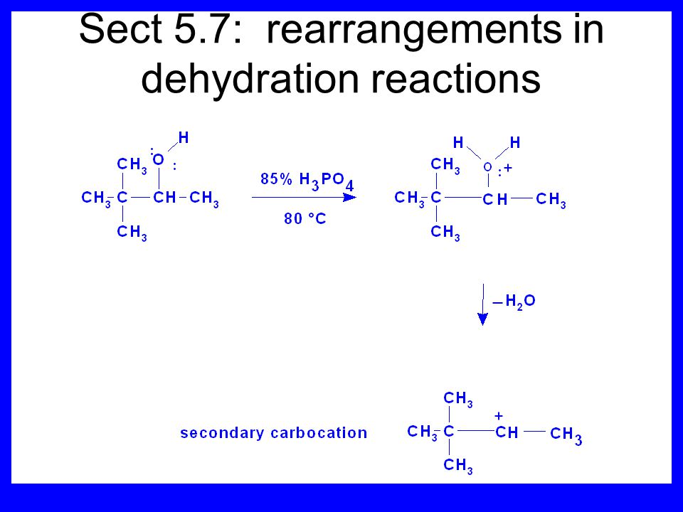 Sect 5.7: rearrangements in dehydration reactions