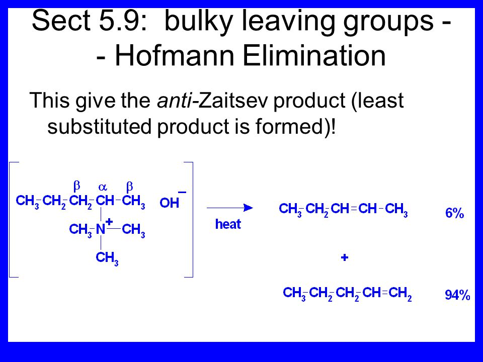 Sect 5.9: bulky leaving groups -- Hofmann Elimination