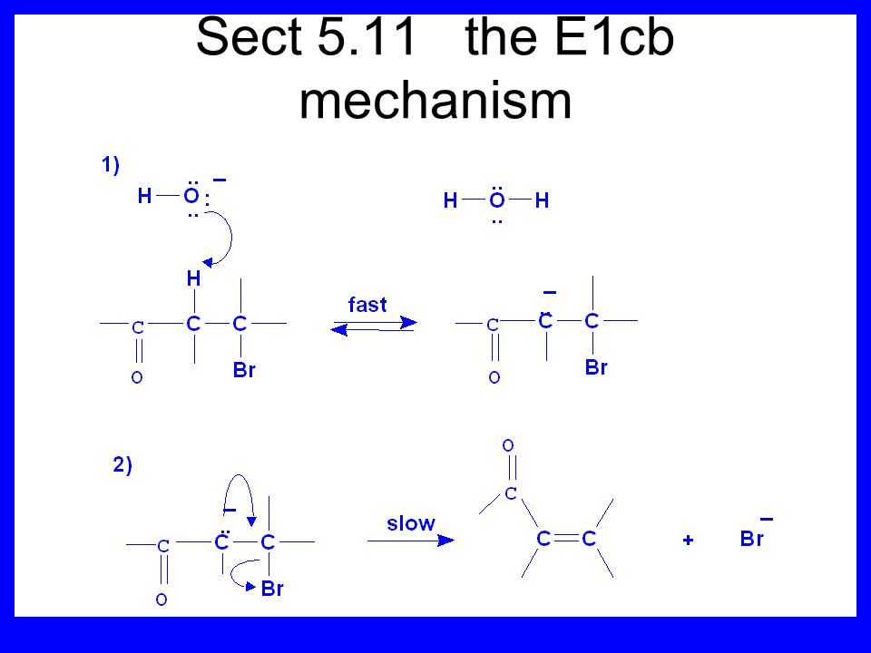 Sect 5.11 the E1cb mechanism