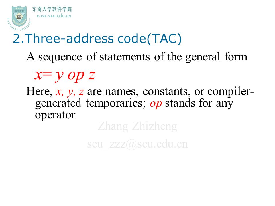 2.Three-address code(TAC)