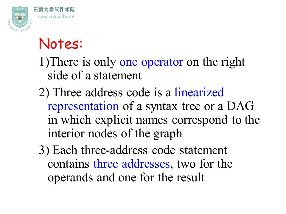 Notes: 1)There is only one operator on the right side of a statement
