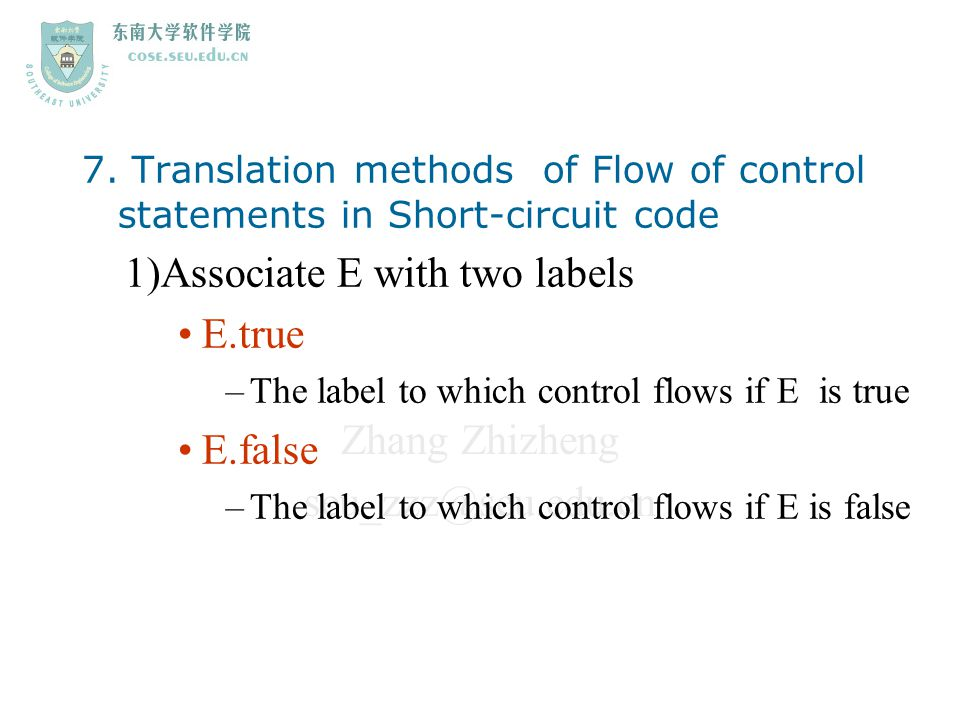 1)Associate E with two labels E.true E.false