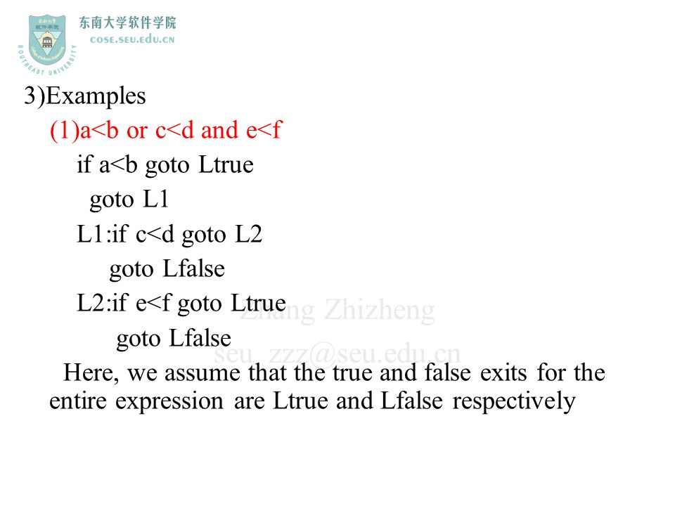 3)Examples (1)a<b or c<d and e<f. if a<b goto Ltrue. goto L1. L1:if c<d goto L2. goto Lfalse. L2:if e<f goto Ltrue.