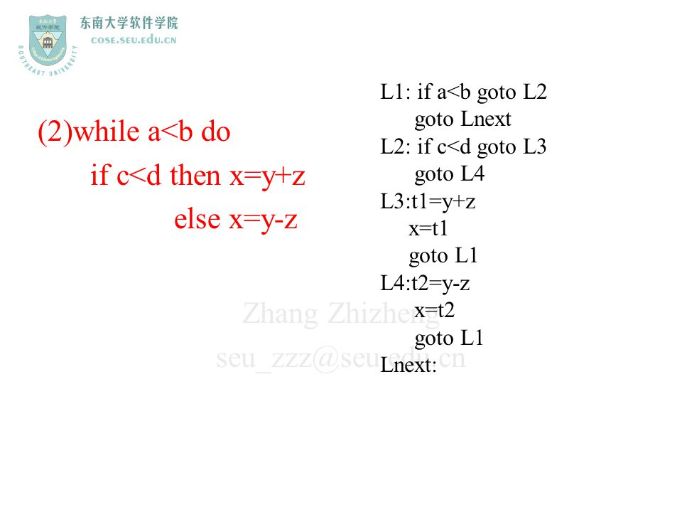 (2)while a<b do if c<d then x=y+z else x=y-z