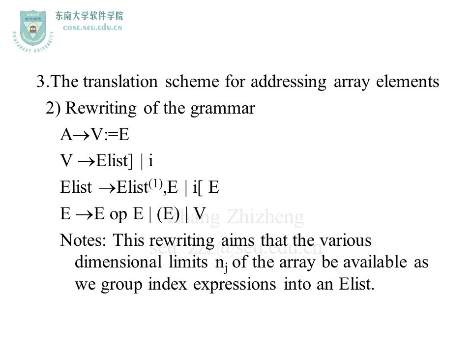 3.The translation scheme for addressing array elements