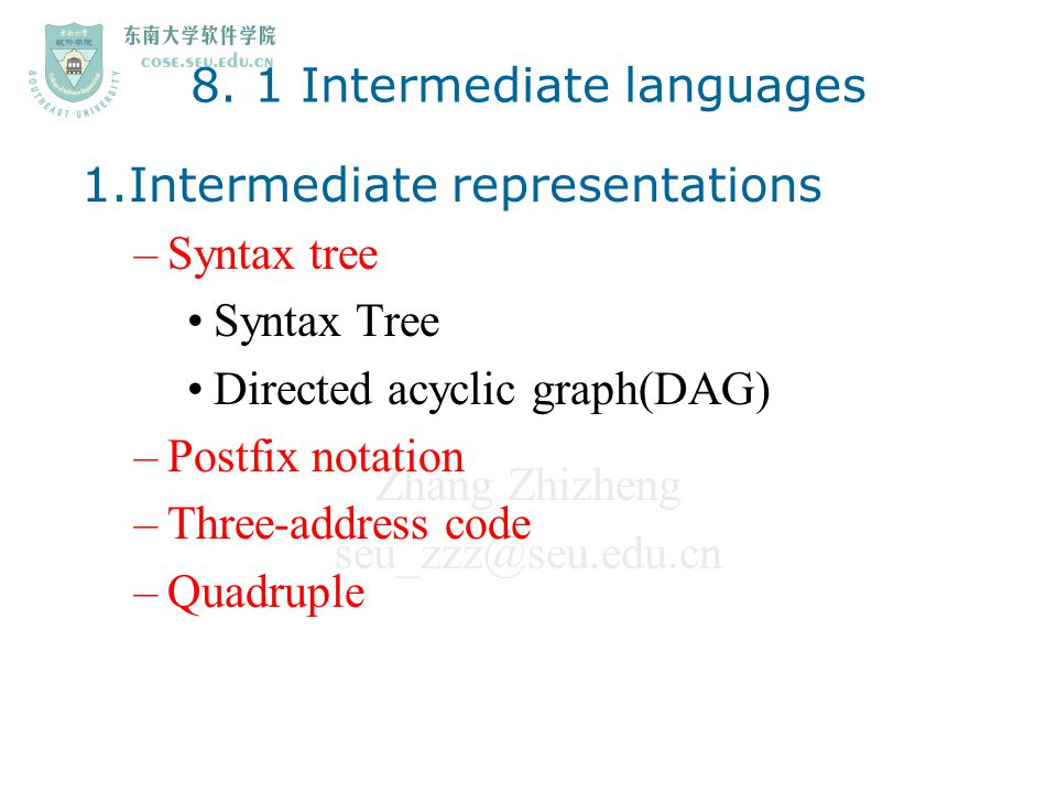 8. 1 Intermediate languages