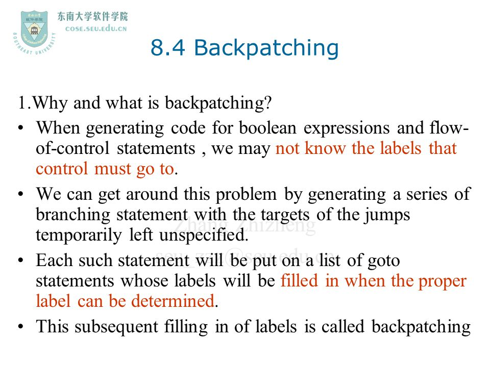 8.4 Backpatching 1.Why and what is backpatching