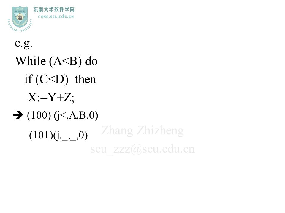 e.g. While (A<B) do if (C<D) then X:=Y+Z;  (100) (j<,A,B,0)