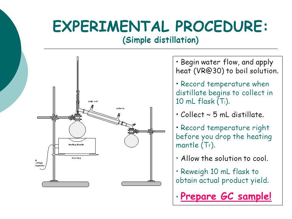 EXPERIMENTAL PROCEDURE: (Simple distillation)