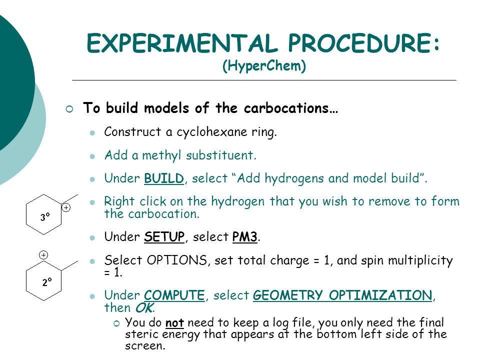 EXPERIMENTAL PROCEDURE: (HyperChem)