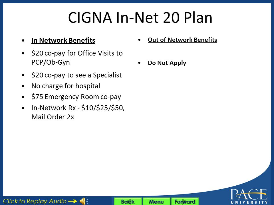 CIGNA In-Net 20 Plan In Network Benefits