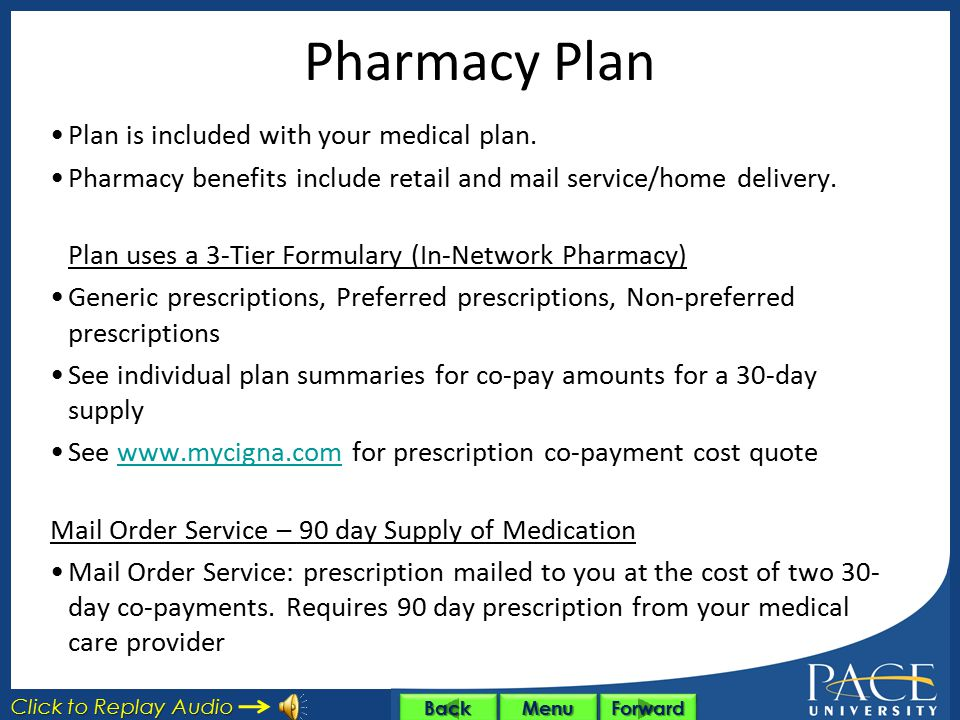 Pharmacy Plan Plan is included with your medical plan.