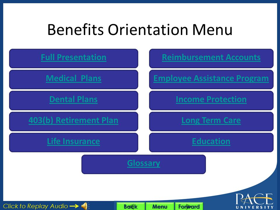 Benefits Orientation Menu