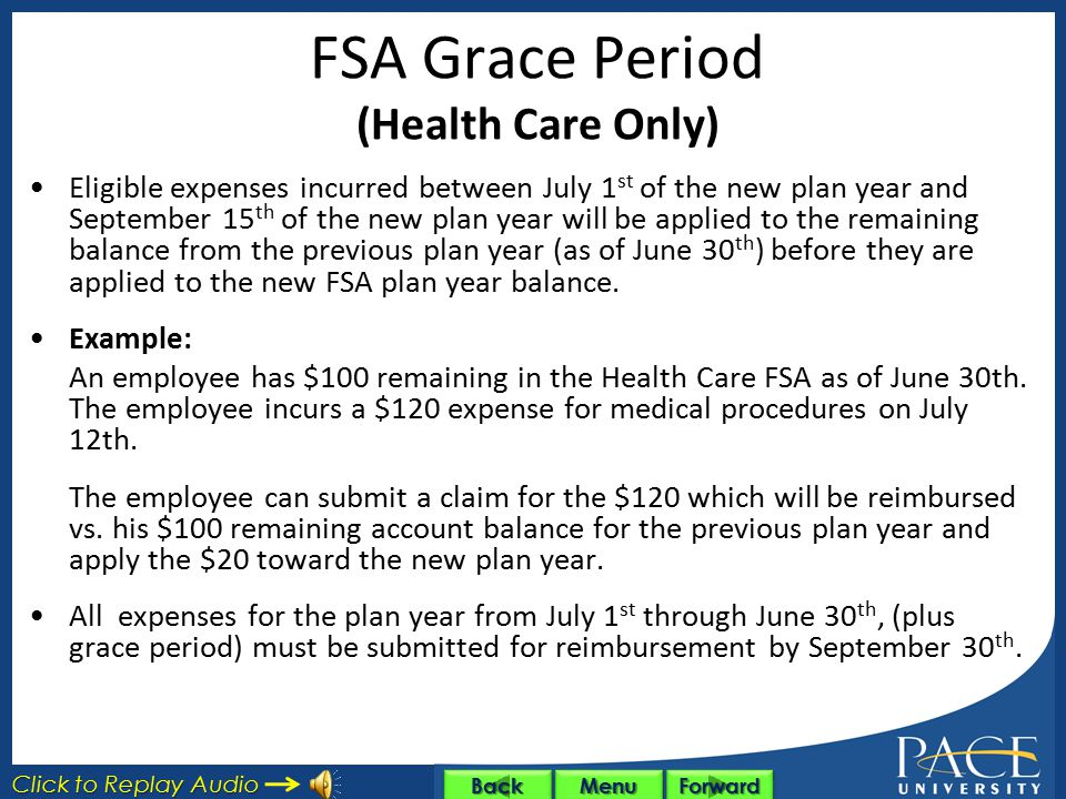 FSA Grace Period (Health Care Only)