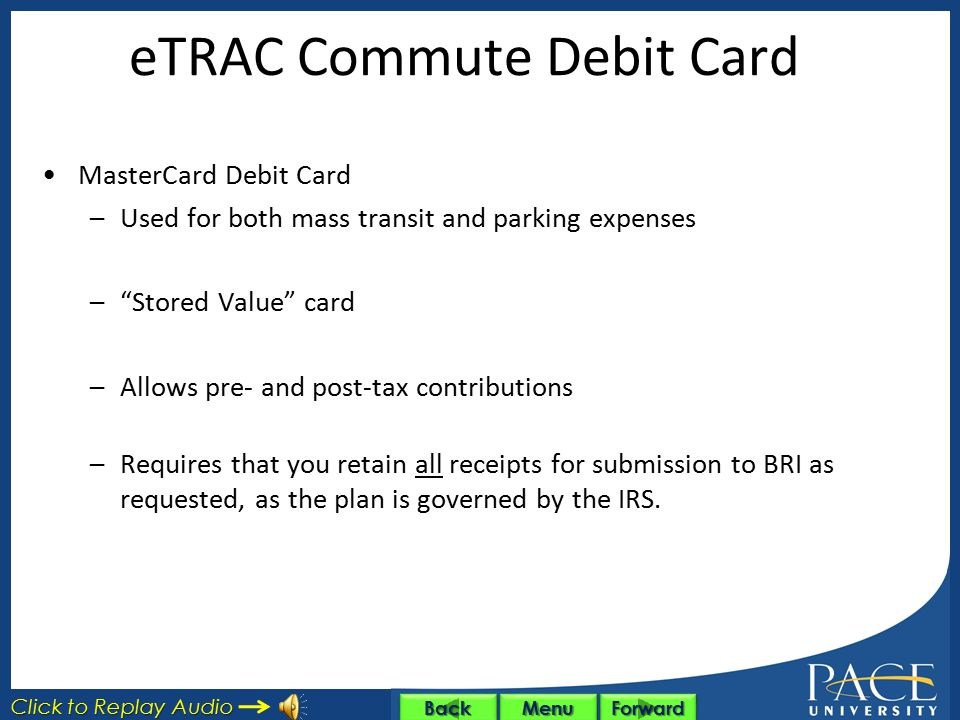 eTRAC Commute Debit Card