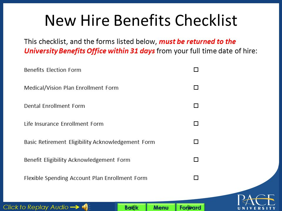 New Hire Benefits Checklist