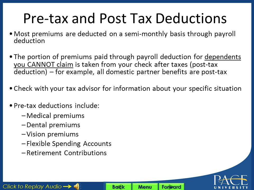 Pre-tax and Post Tax Deductions