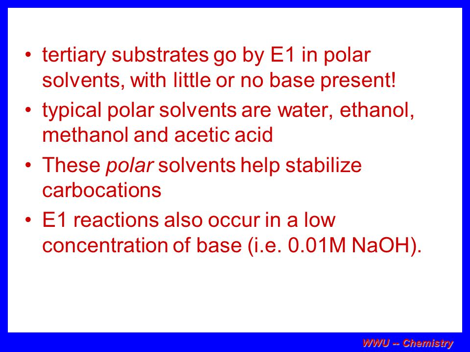 typical polar solvents are water, ethanol, methanol and acetic acid