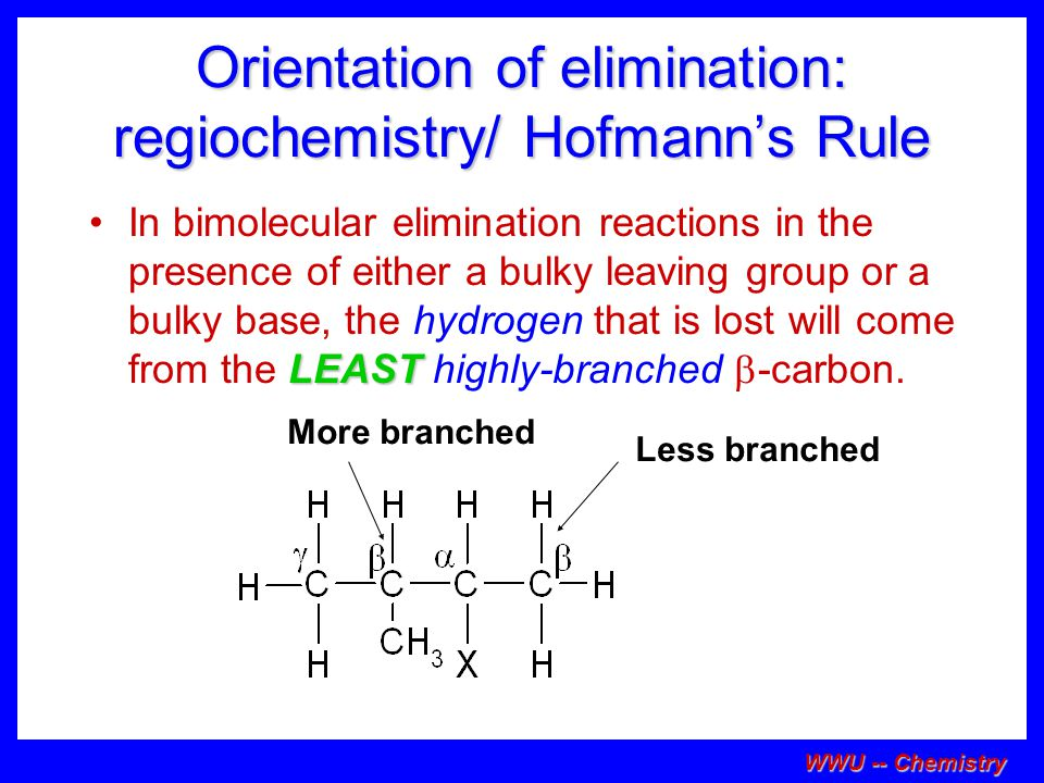 Orientation of elimination: regiochemistry/ Hofmann's Rule