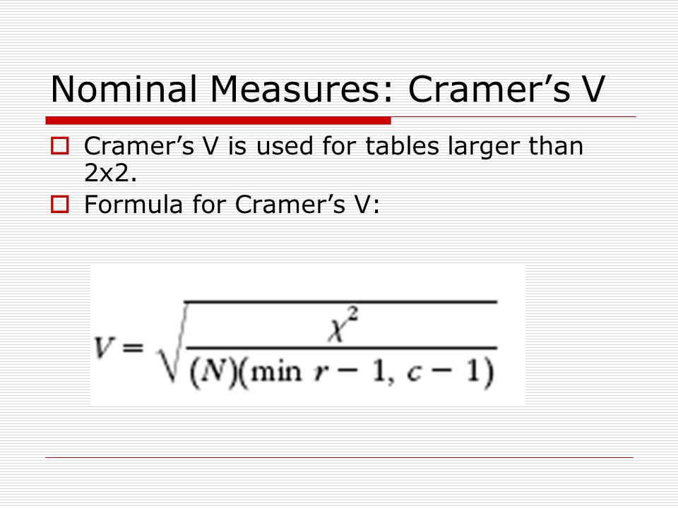 Nominal Measures: Cramer's V