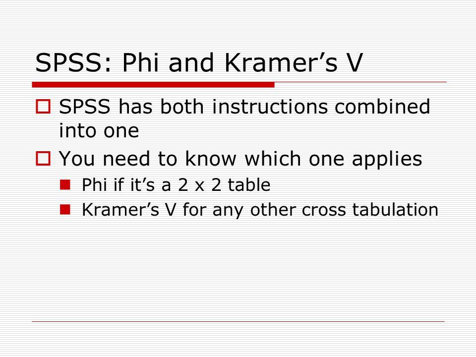 SPSS: Phi and Kramer's V