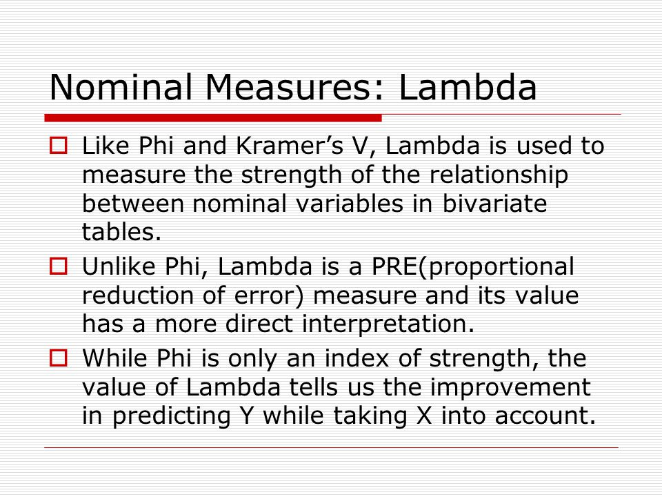 Nominal Measures: Lambda