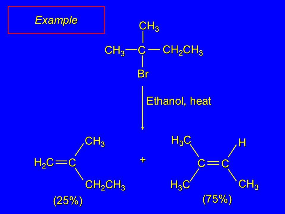Example CH3 C CH3 CH2CH3 Br Ethanol, heat CH2CH3 CH3 C H2C H3C CH3 C H