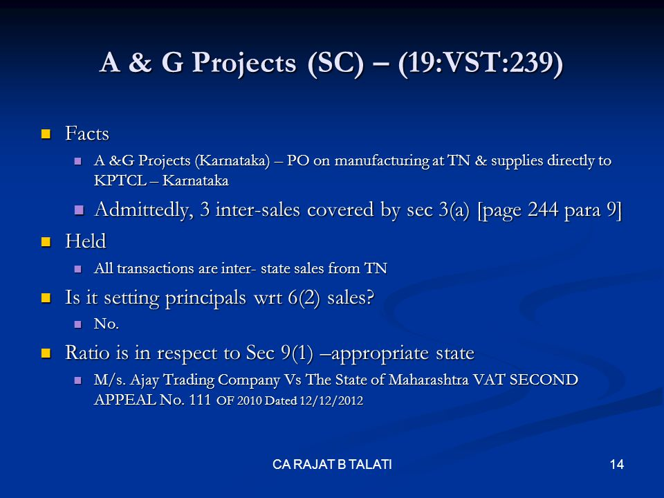 A & G Projects (SC) – (19:VST:239)