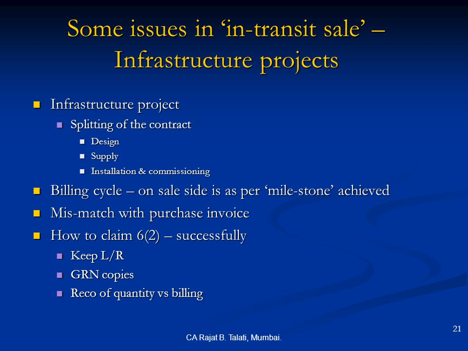 Some issues in 'in-transit sale' – Infrastructure projects