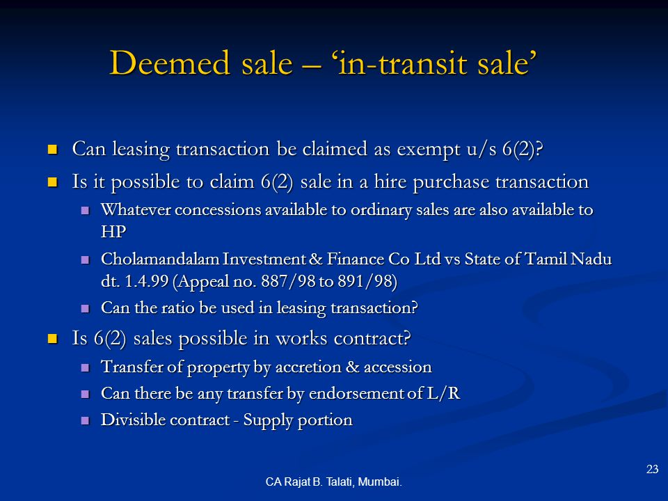 Deemed sale – 'in-transit sale'