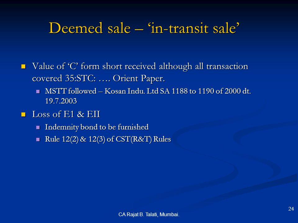 Deemed sale – 'in-transit sale'