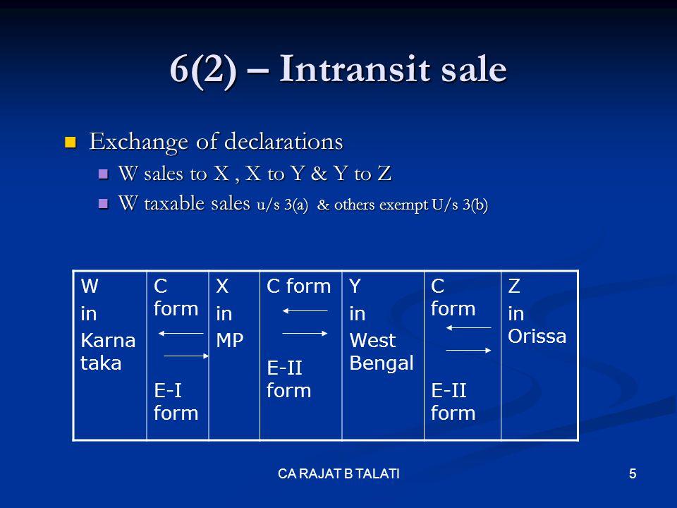 6(2) – Intransit sale Exchange of declarations