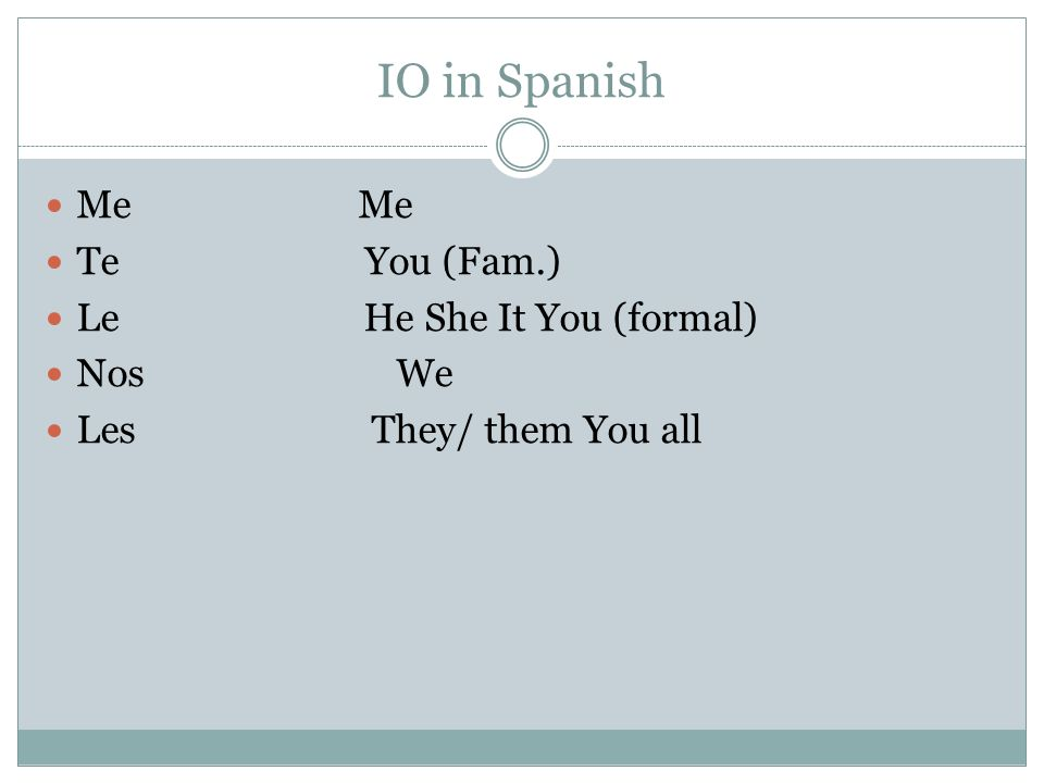 IO in Spanish Me Me Te You (Fam.) Le He She It You (formal) Nos We