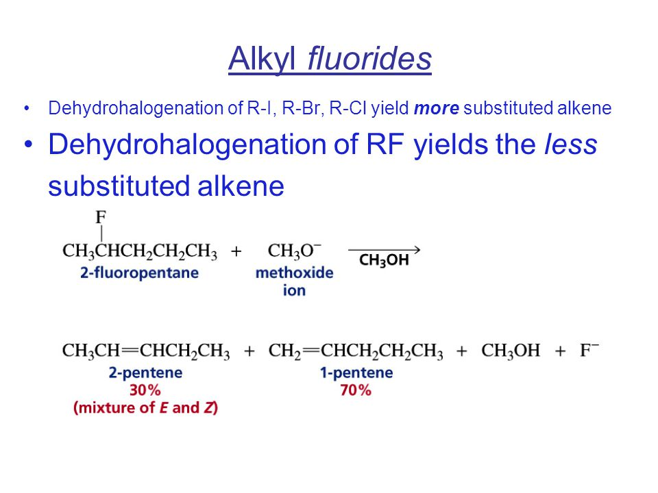 Alkyl fluorides Dehydrohalogenation of R-I, R-Br, R-Cl yield more substituted alkene.