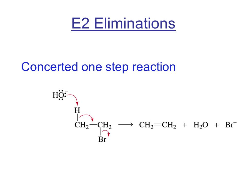 E2 Eliminations Concerted one step reaction