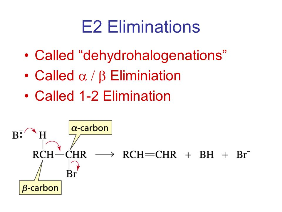 E2 Eliminations Called dehydrohalogenations