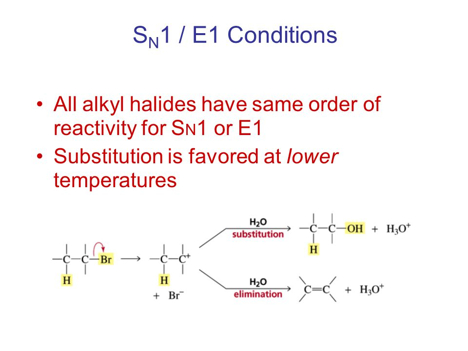 SN1 / E1 Conditions All alkyl halides have same order of reactivity for SN1 or E1.