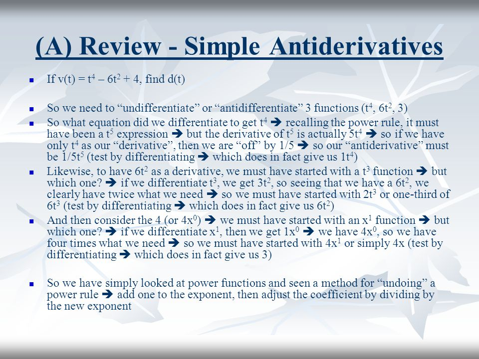(A) Review - Simple Antiderivatives