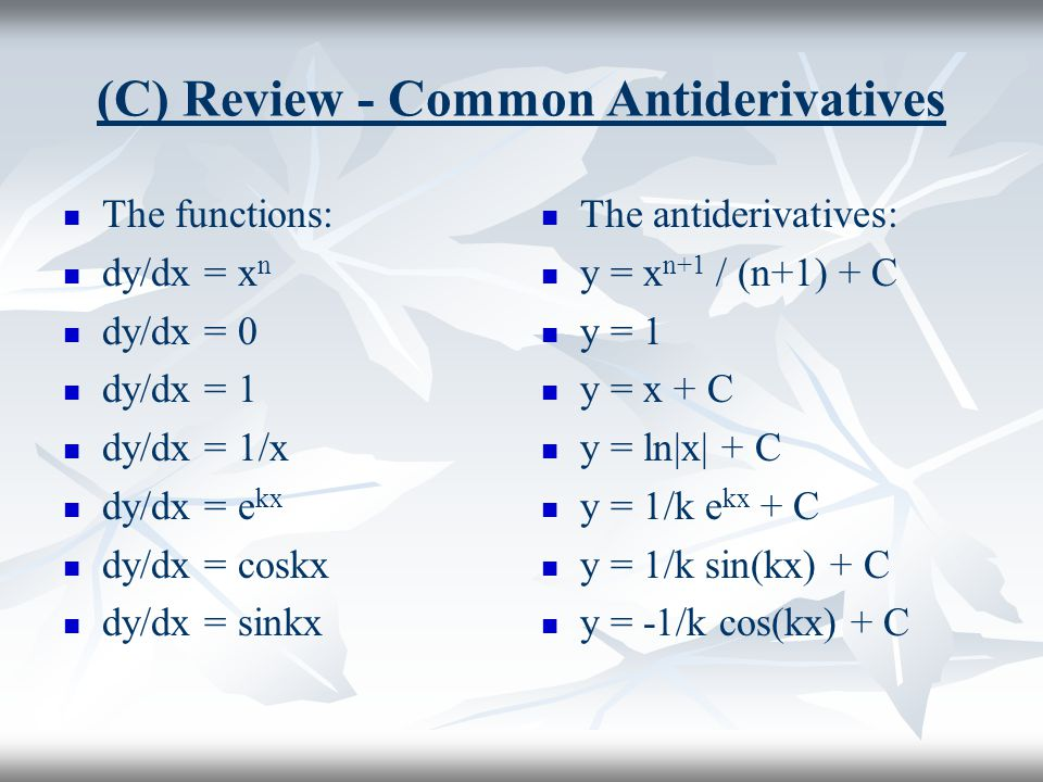 (C) Review - Common Antiderivatives