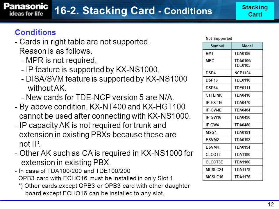 16-2. Stacking Card - Conditions