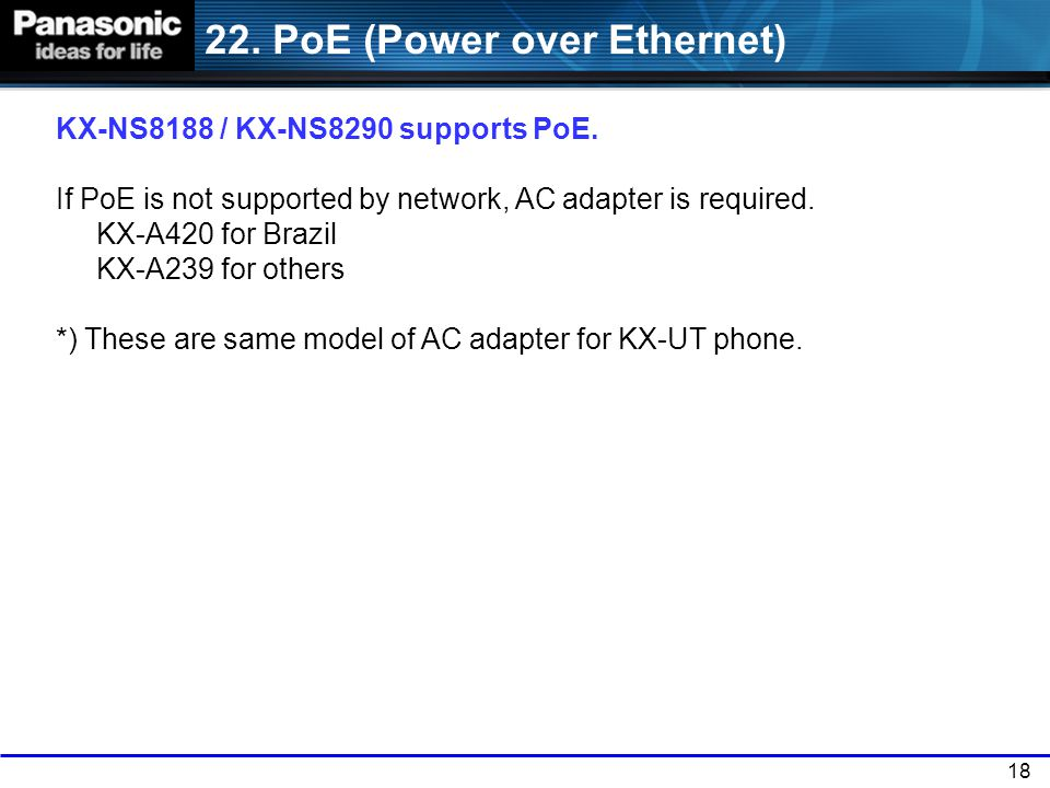 22. PoE (Power over Ethernet)