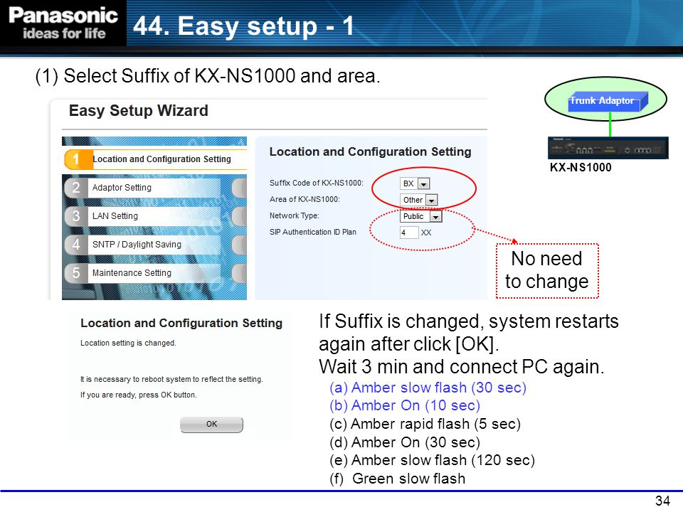 44. Easy setup - 1 (1) Select Suffix of KX-NS1000 and area.