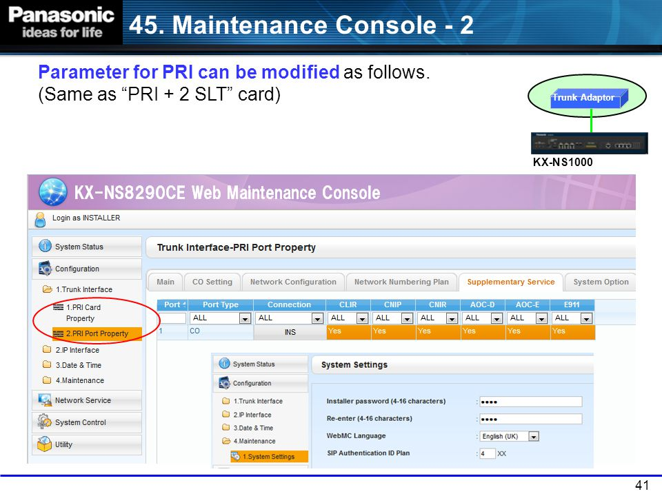 45. Maintenance Console - 2 Parameter for PRI can be modified as follows. (Same as PRI + 2 SLT card)