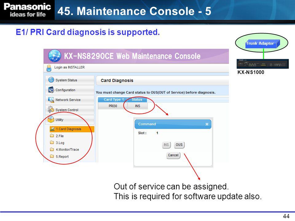 45. Maintenance Console - 5 E1/ PRI Card diagnosis is supported.