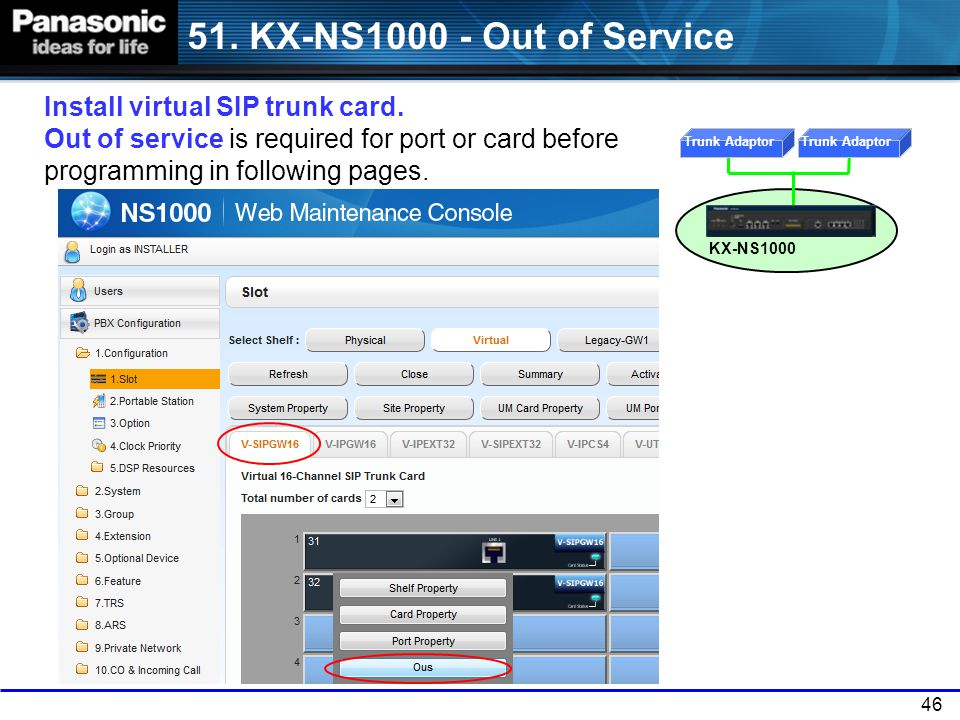 51. KX-NS1000 - Out of Service Install virtual SIP trunk card. Out of service is required for port or card before programming in following pages.
