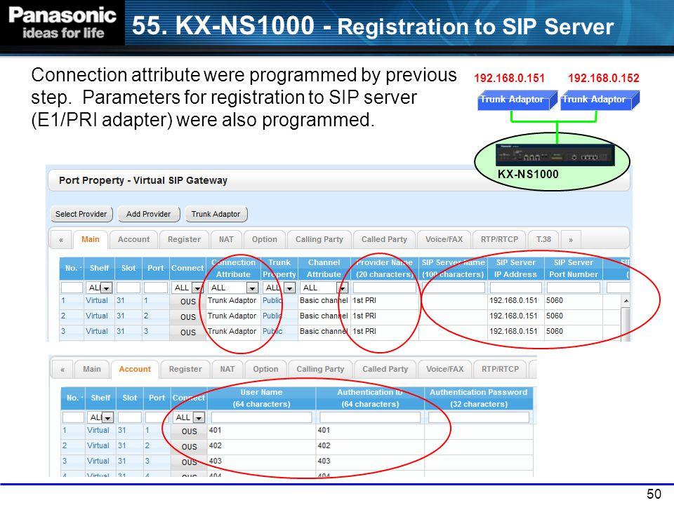 55. KX-NS1000 - Registration to SIP Server